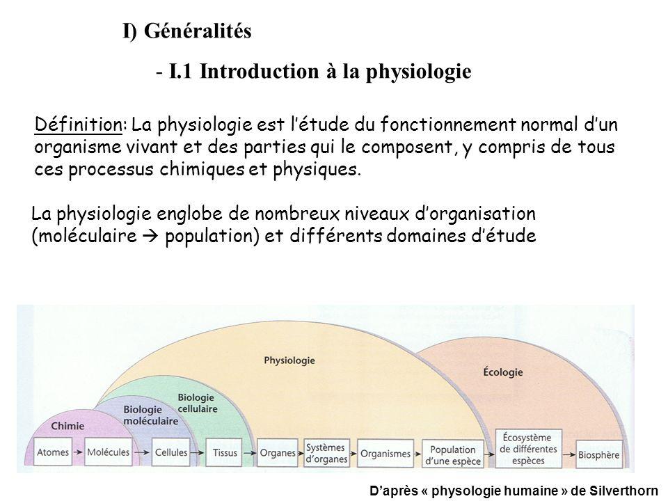 Définition: La physiologie est létude du fonctionnement normal dun organisme vivant et des parties qui le composent, y compris de tous ces processus c