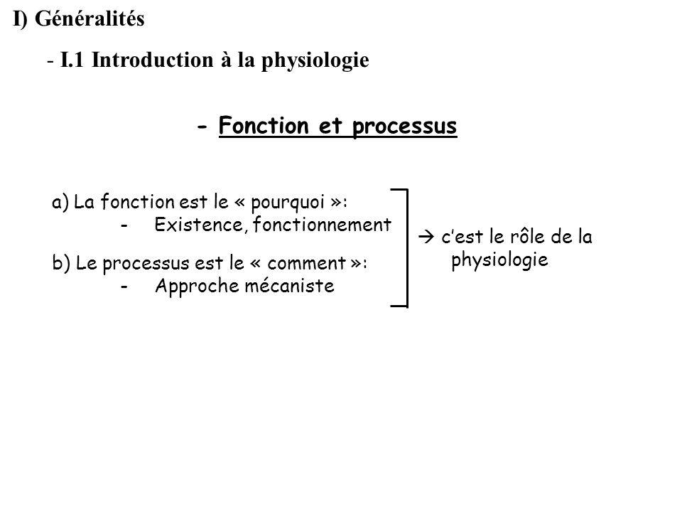 I) Généralités - I.1 Introduction à la physiologie - Fonction et processus a) La fonction est le « pourquoi »: -Existence, fonctionnement b) Le proces