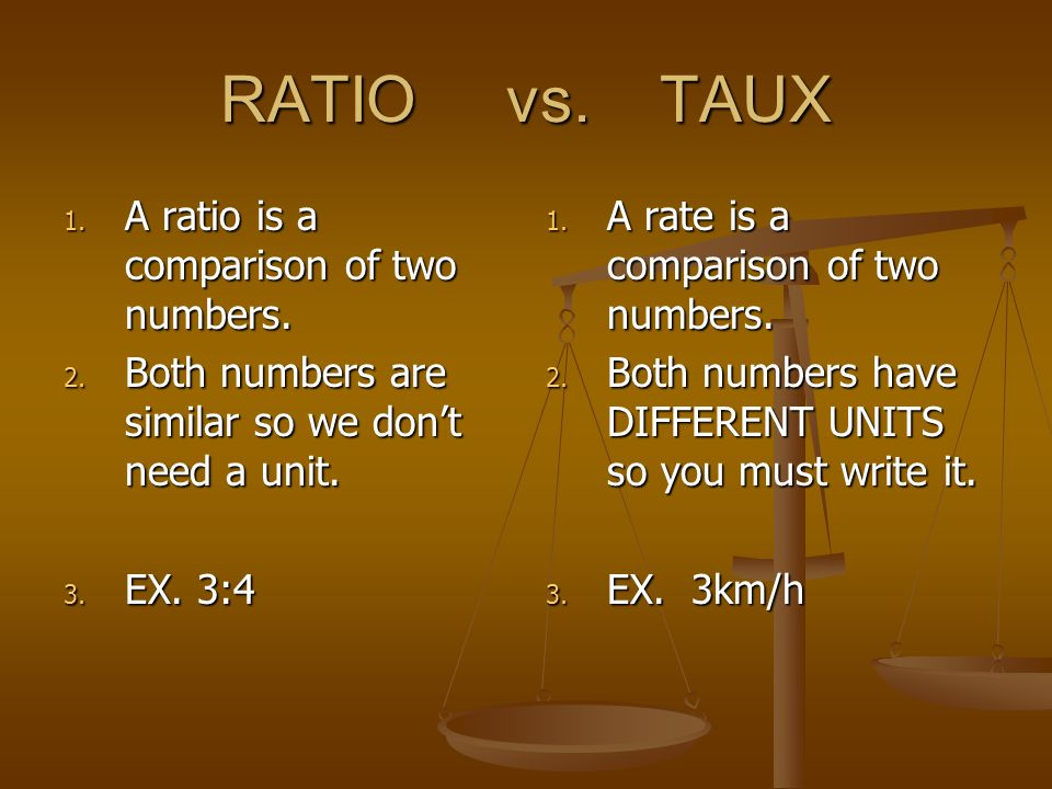 RATIO vs. TAUX 1. A ratio is a comparison of two numbers. 2. Both numbers are similar so we dont need a unit. 3. EX. 3:4 1. A rate is a comparison of