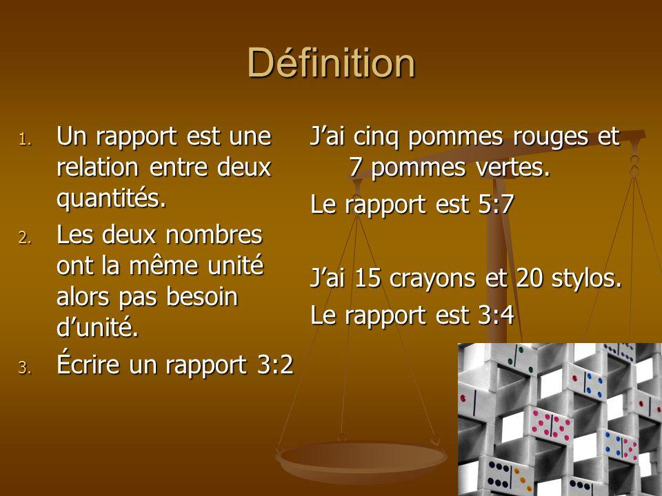 Définition 1. Un rapport est une relation entre deux quantités. 2. Les deux nombres ont la même unité alors pas besoin dunité. 3. Écrire un rapport 3: