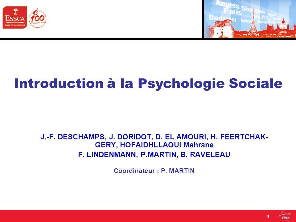 Linfluence sociale 32 La dissonance cognitive (Festinger, 1957) Festinger définit la dissonance cognitive comme un état dinconfort ou de tension psychologique ressenti par une personne du fait de la présence simultanée en elle de « cognitions » (savoirs, représentations, croyances, opinions) incompatibles ou incohérents entre elles.