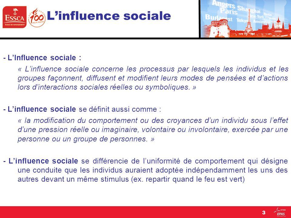 Linfluence sociale Lisolement face à la majorité constitue un facteur capital déterminant pour obtenir cet effet de conformisme chez les sujets naïfs.