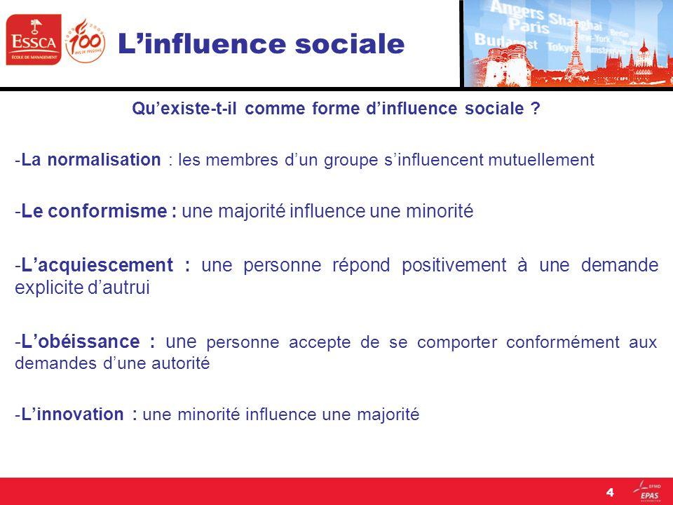 Linfluence sociale La normalisation : Daprès Grusec et Lytton, 1986, la norme est une règle dictée par la société.