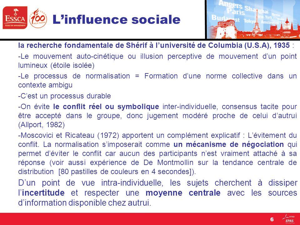 Linfluence sociale Leffet Asch est-il culturellement et historiquement déterminé .