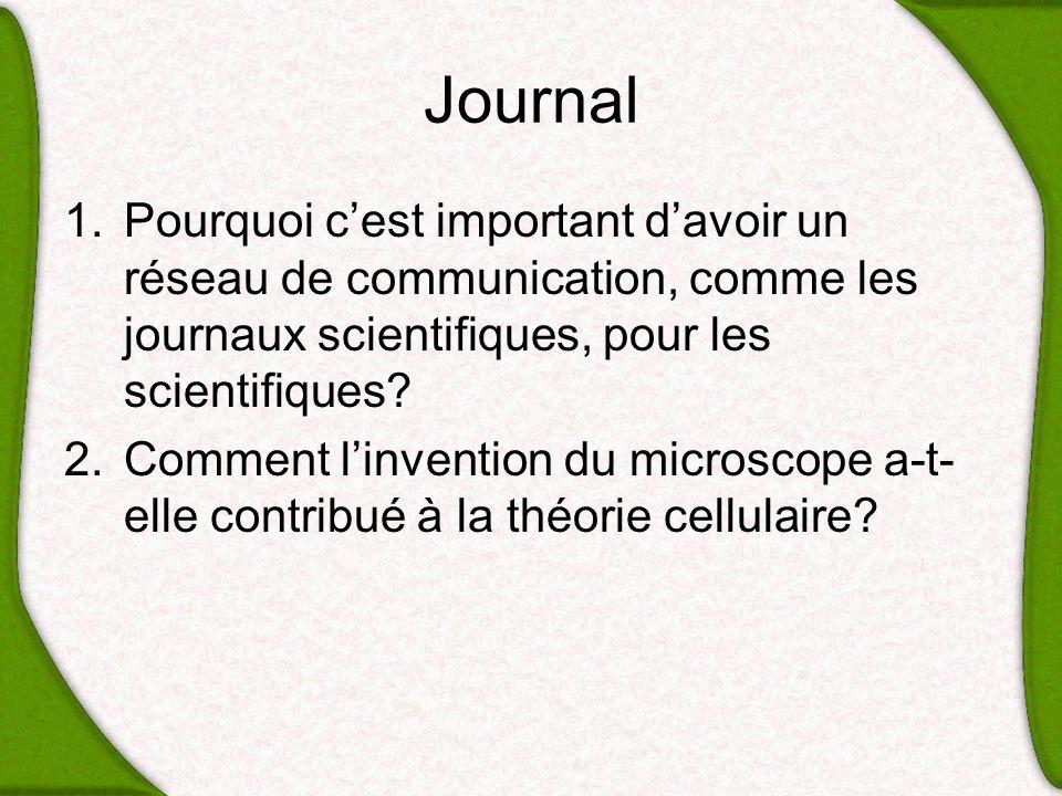 Journal 1.Pourquoi cest important davoir un réseau de communication, comme les journaux scientifiques, pour les scientifiques? 2.Comment linvention du