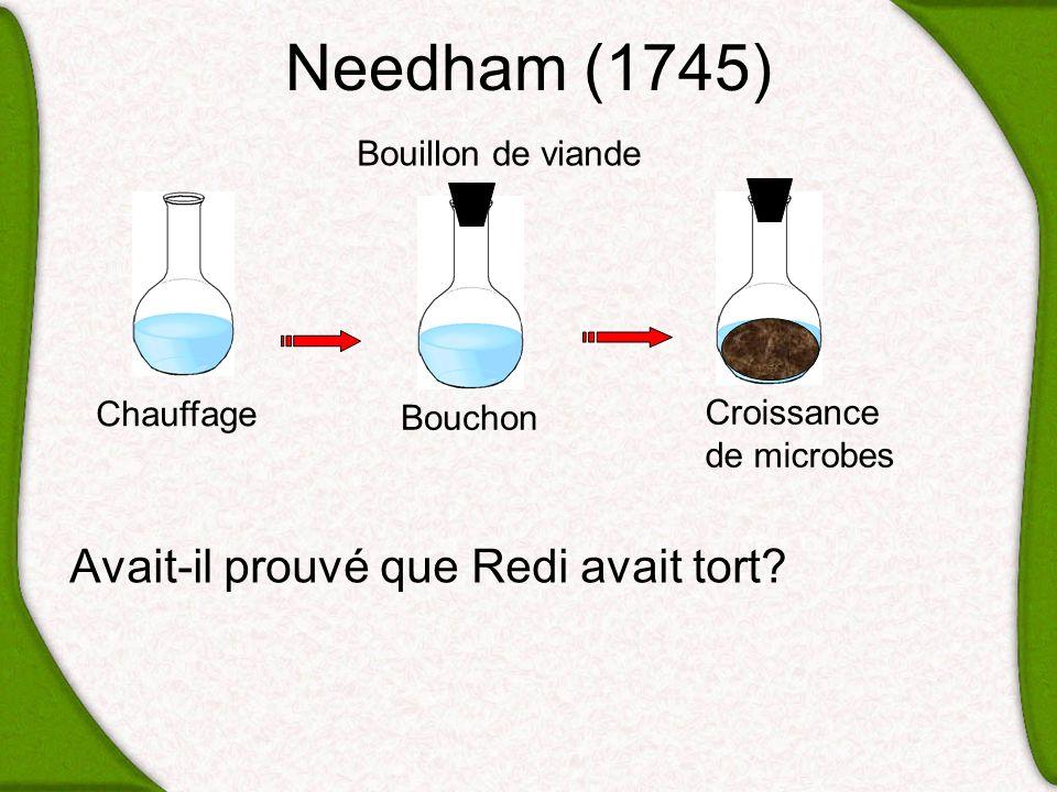 Needham (1745) Avait-il prouvé que Redi avait tort? Chauffage Bouillon de viande Bouchon Croissance de microbes
