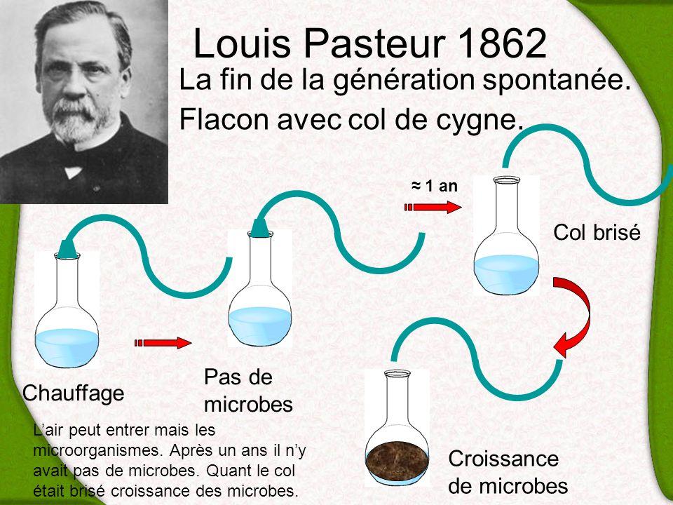 Louis Pasteur 1862 La fin de la génération spontanée. Flacon avec col de cygne. Chauffage Croissance de microbes Pas de microbes Col brisé 1 an Lair p