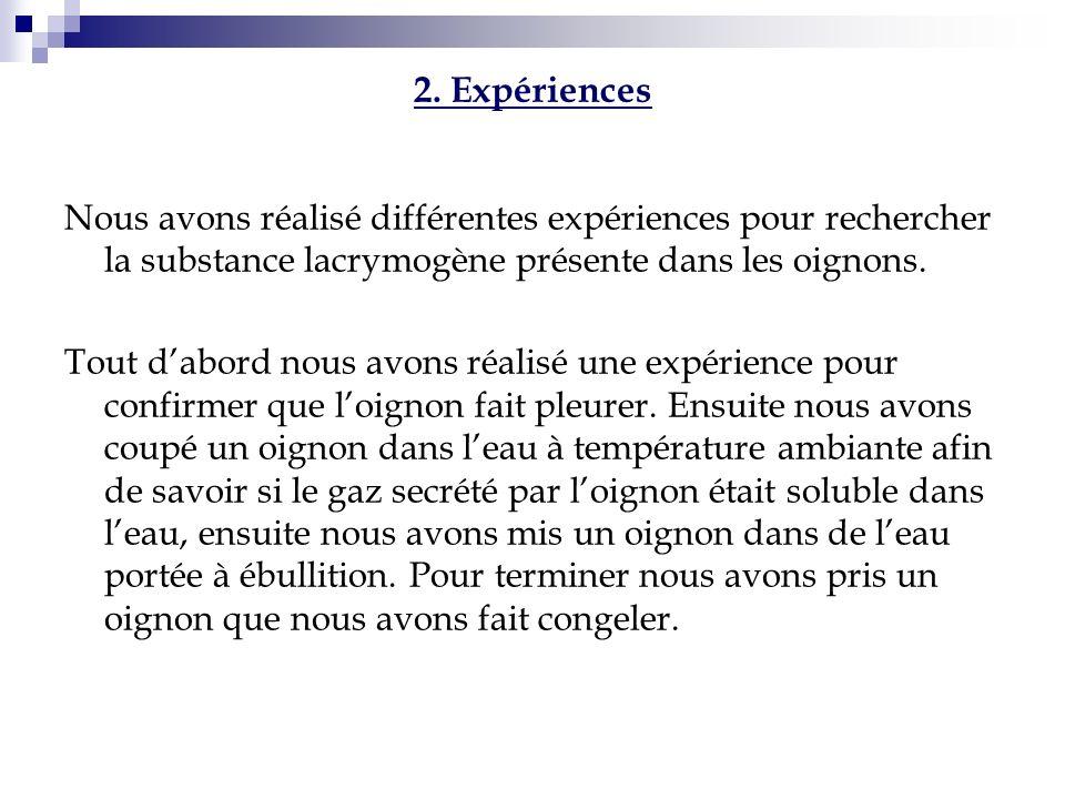 2. Expériences Nous avons réalisé différentes expériences pour rechercher la substance lacrymogène présente dans les oignons. Tout dabord nous avons r