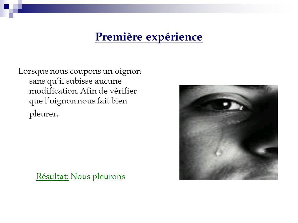 Deuxième Expérience On coupe un oignon dans leau Résultat: Nous ne pleurons pas Conclusion: La substance est dissoute dans leau