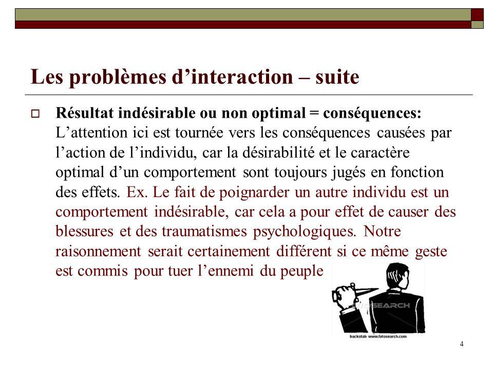 Les problèmes dinteraction – suite Comment détermine-t-on si un comportement engendre ou non un problème dinteraction.