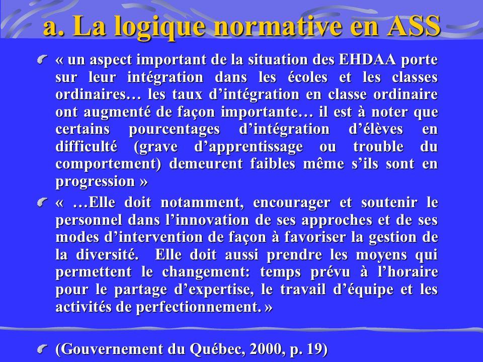 a. La logique normative en ASS « un aspect important de la situation des EHDAA porte sur leur intégration dans les écoles et les classes ordinaires… l