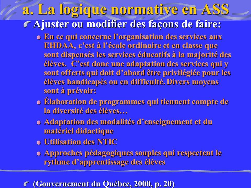 a. La logique normative en ASS Ajuster ou modifier des façons de faire: En ce qui concerne lorganisation des services aux EHDAA, cest à lécole ordinai