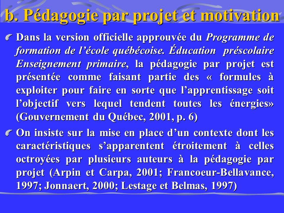 b. Pédagogie par projet et motivation Dans la version officielle approuvée du Programme de formation de lécole québécoise. Éducation préscolaire Ensei