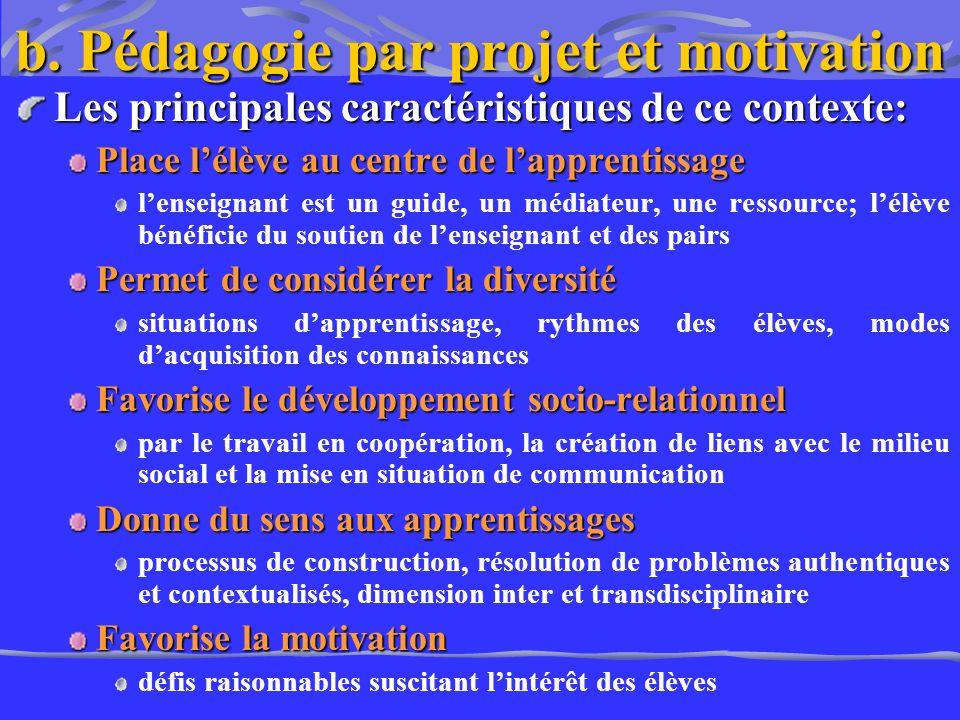 b. Pédagogie par projet et motivation Les principales caractéristiques de ce contexte: Place lélève au centre de lapprentissage lenseignant est un gui