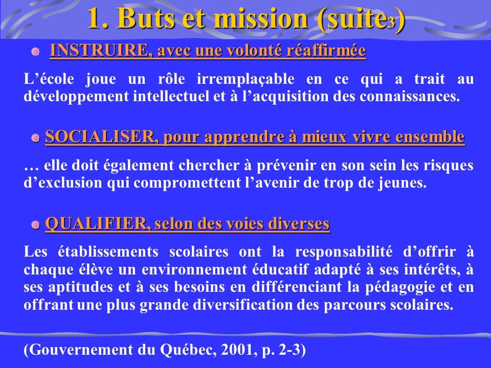 1. Buts et mission (suite 3 ) INSTRUIRE, avec une volonté réaffirmée Lécole joue un rôle irremplaçable en ce qui a trait au développement intellectuel