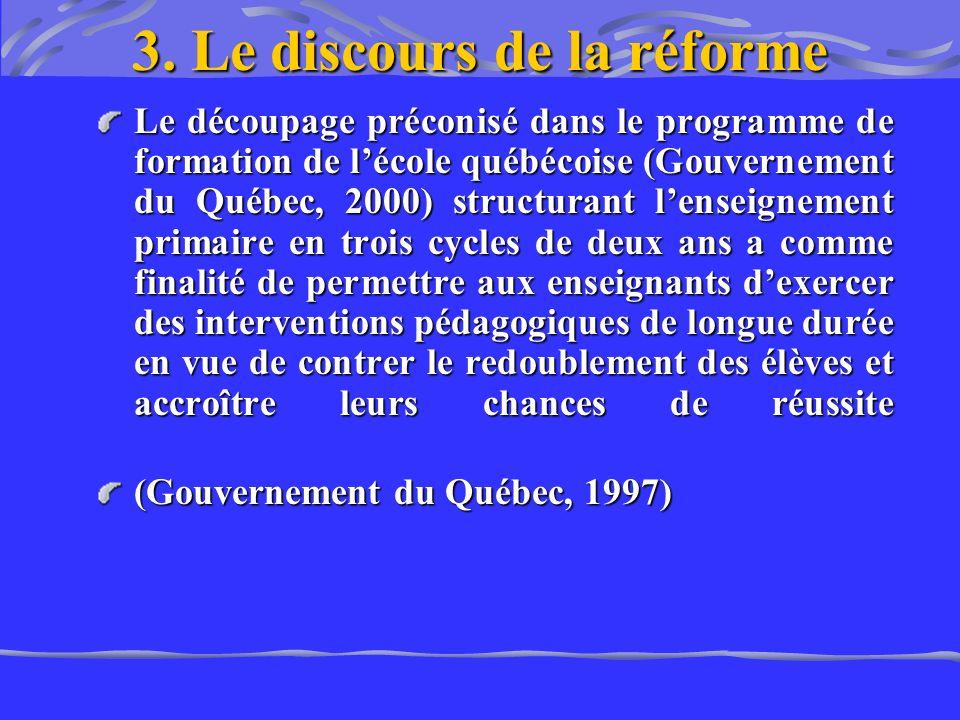 3. Le discours de la réforme Le découpage préconisé dans le programme de formation de lécole québécoise (Gouvernement du Québec, 2000) structurant len