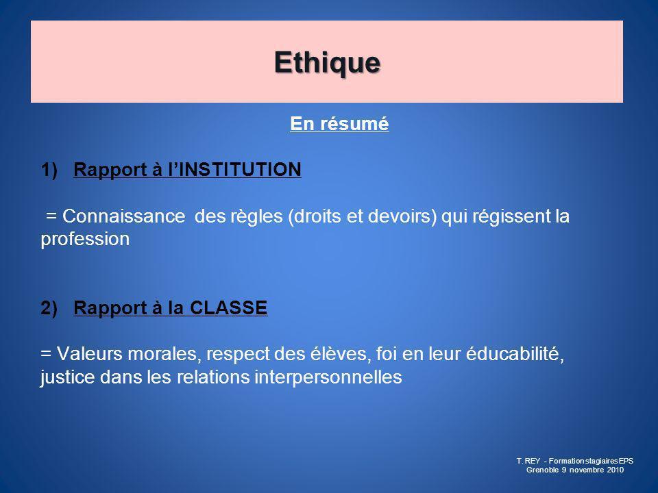 Ethique En résumé 1)Rapport à lINSTITUTION = Connaissance des règles (droits et devoirs) qui régissent la profession 2)Rapport à la CLASSE = Valeurs m