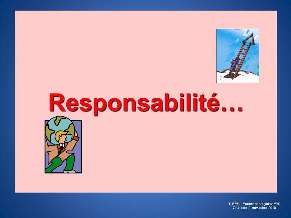Responsabilité (Lat, respondere > répondre, se porter garant) « Capacité de prendre une décision sans en référer préalablement à lautorité supérieure » « Fait pour quelquun, quelque chose d être à lorigine dun Dommage » « Obligation de réparer une faute, de remplir une charge, un Engagement » « Réflexion lucide par rapport aux conséquences de ses actes » (Petit Larousse) T.