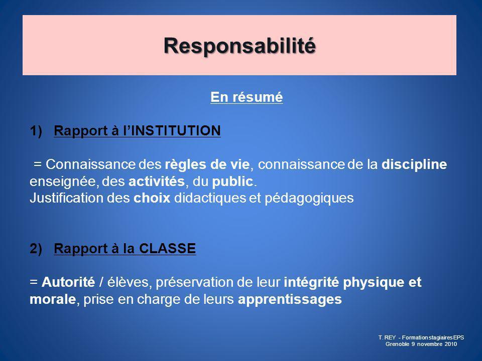 Responsabilité En résumé 1)Rapport à lINSTITUTION = Connaissance des règles de vie, connaissance de la discipline enseignée, des activités, du public.