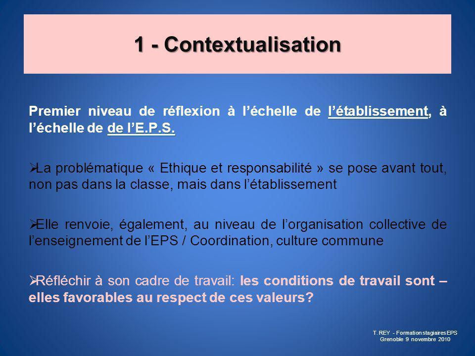 1 - Contextualisation létablissement, de lE.P.S. Premier niveau de réflexion à léchelle de létablissement, à léchelle de de lE.P.S. La problématique «