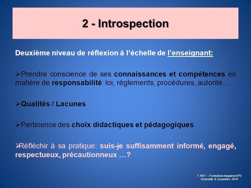 2 - Introspection lenseignant: Deuxième niveau de réflexion à léchelle de lenseignant: Prendre conscience de ses connaissances et compétences en matiè