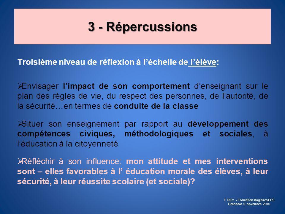 3 - Répercussions lélève: Troisième niveau de réflexion à léchelle de lélève: Envisager limpact de son comportement denseignant sur le plan des règles