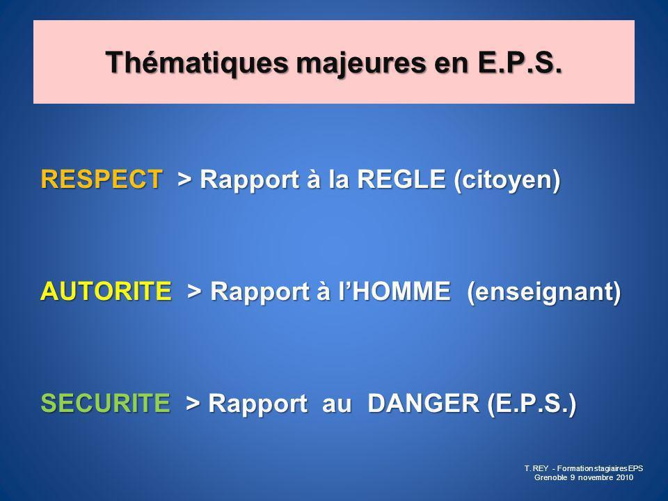 Thématiques majeures en E.P.S. RESPECT > Rapport à la REGLE (citoyen) AUTORITE > Rapport à lHOMME (enseignant) SECURITE > Rapport au DANGER (E.P.S.) T