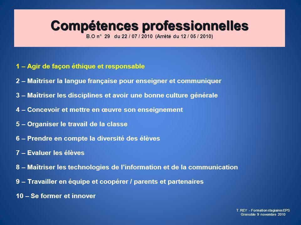 Compétences professionnelles Compétences professionnelles B.O n° 29 du 22 / 07 / 2010 (Arrêté du 12 / 05 / 2010) 1 – Agir de façon éthique et responsa