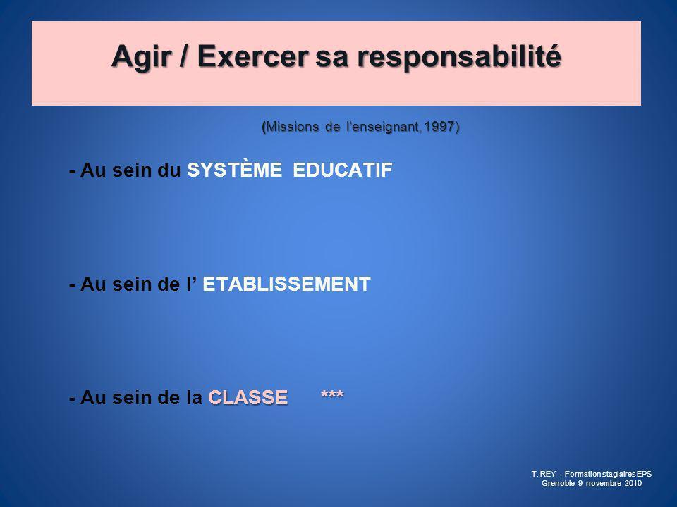 Agir / Exercer sa responsabilité (Missions de lenseignant, 1997) - Au sein du SYSTÈME EDUCATIF - Au sein de l ETABLISSEMENT CLASSE *** - Au sein de la