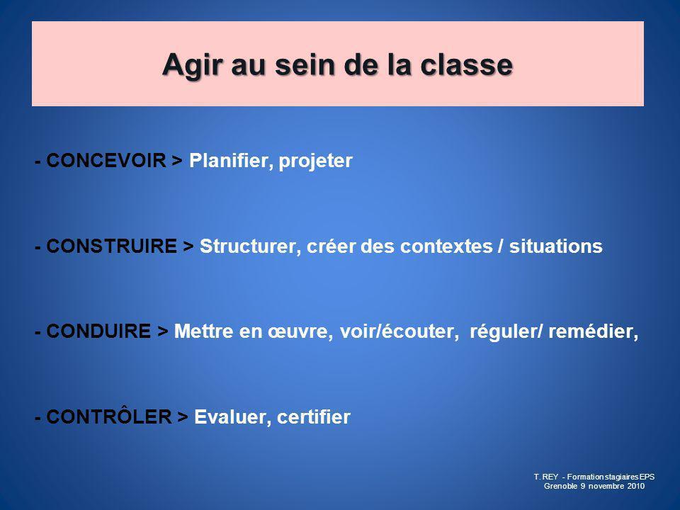 Agir au sein de la classe - CONCEVOIR > Planifier, projeter - CONSTRUIRE > Structurer, créer des contextes / situations - CONDUIRE > Mettre en œuvre,