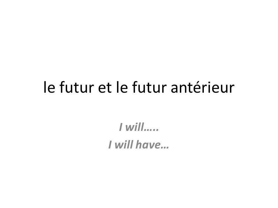 le futur et le futur antérieur I will….. I will have…