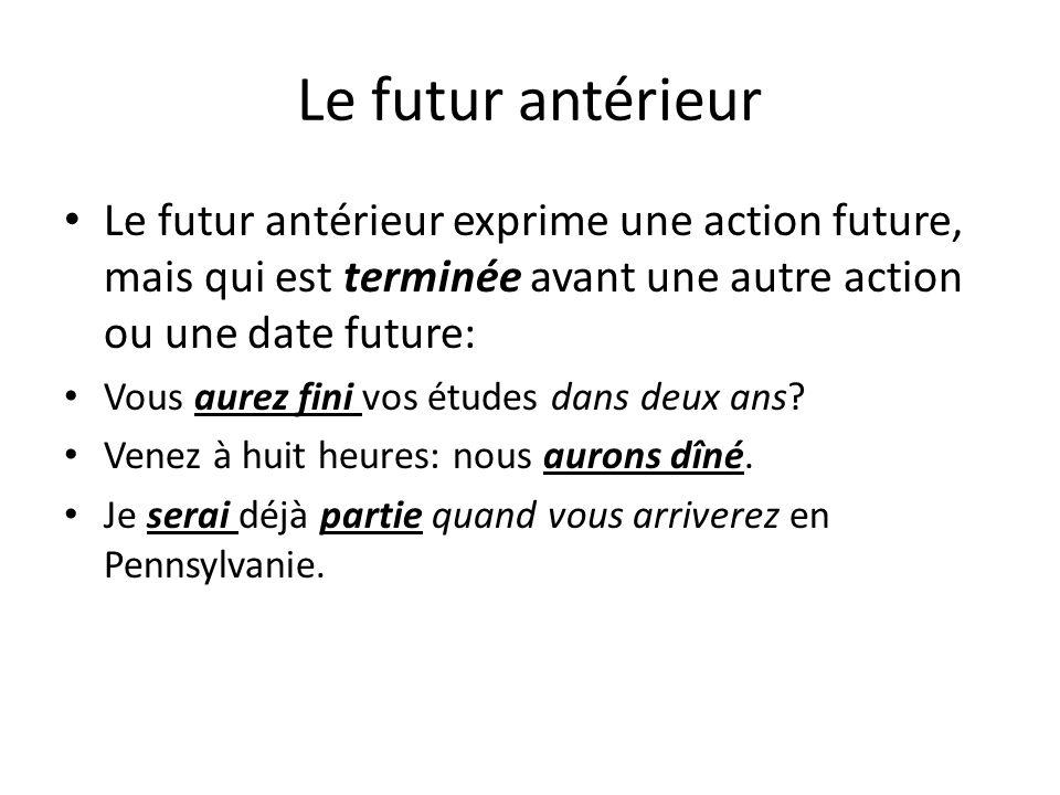 Le futur antérieur Le futur antérieur exprime une action future, mais qui est terminée avant une autre action ou une date future: Vous aurez fini vos