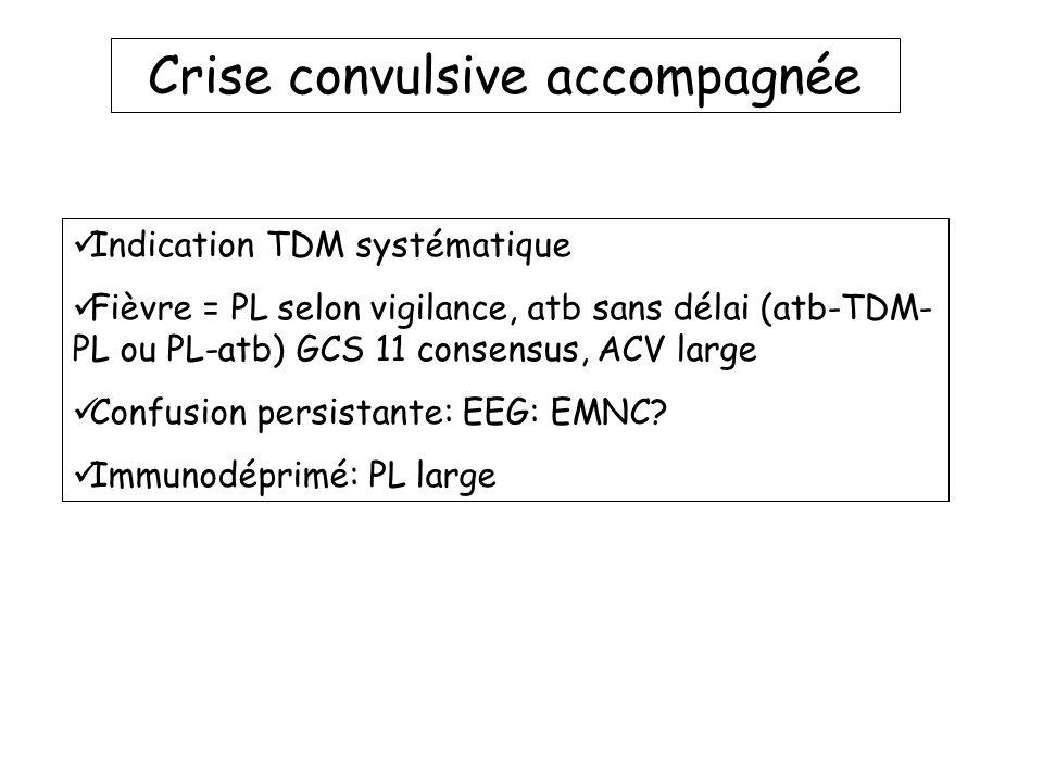 Crise convulsive accompagnée Indication TDM systématique Fièvre = PL selon vigilance, atb sans délai (atb-TDM- PL ou PL-atb) GCS 11 consensus, ACV lar