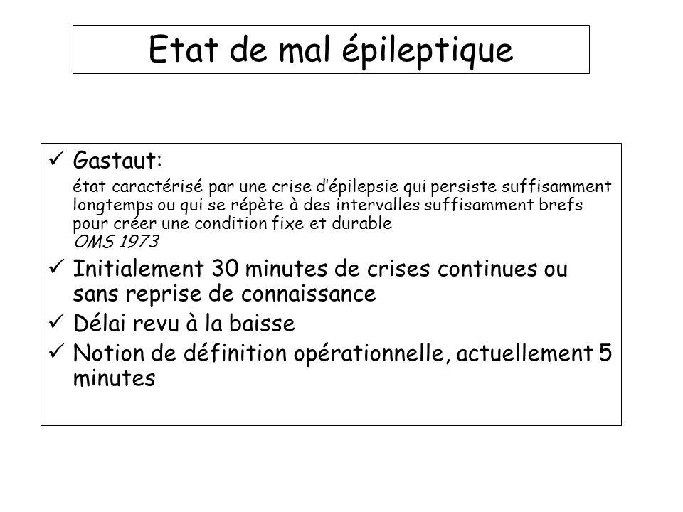 Gastaut: état caractérisé par une crise dépilepsie qui persiste suffisamment longtemps ou qui se répète à des intervalles suffisamment brefs pour crée