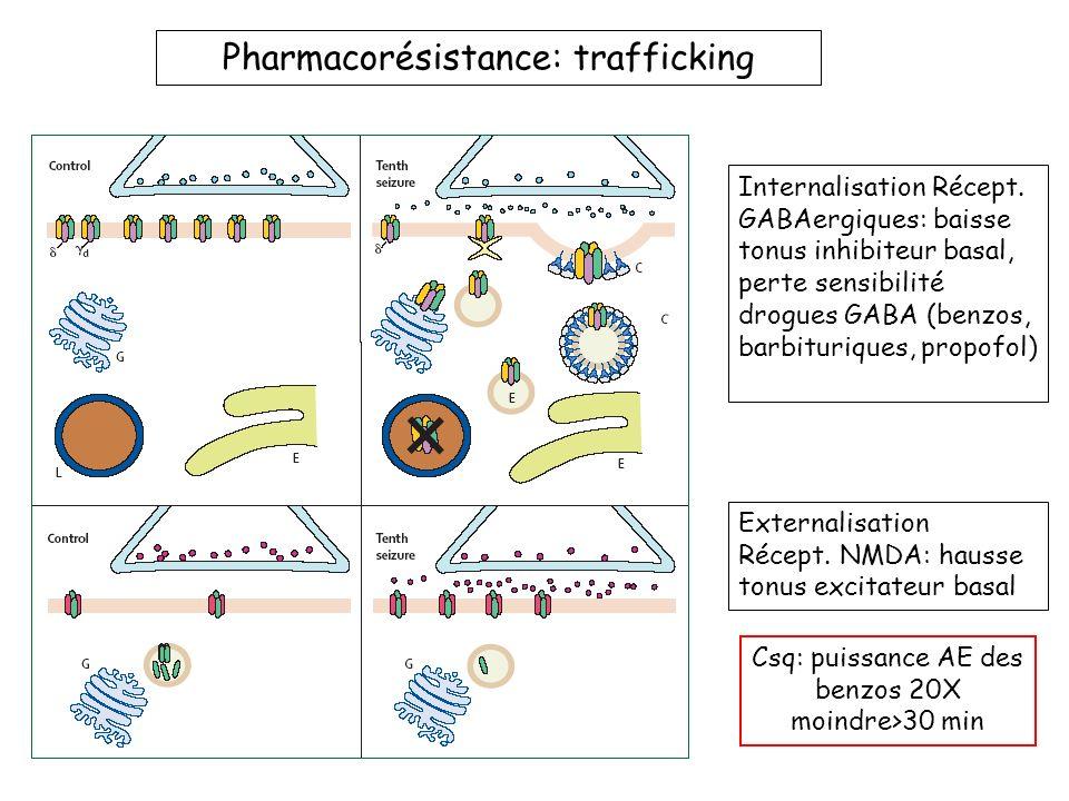 Pharmacorésistance: trafficking Internalisation Récept. GABAergiques: baisse tonus inhibiteur basal, perte sensibilité drogues GABA (benzos, barbituri