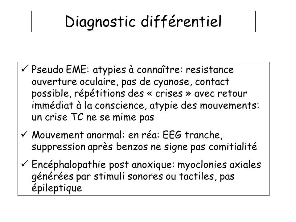 Diagnostic différentiel Pseudo EME: atypies à connaître: resistance ouverture oculaire, pas de cyanose, contact possible, répétitions des « crises » a