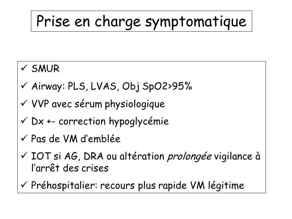 Prise en charge symptomatique SMUR Airway: PLS, LVAS, Obj SpO2>95% VVP avec sérum physiologique Dx +- correction hypoglycémie Pas de VM demblée IOT si