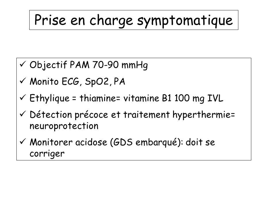 Prise en charge symptomatique Objectif PAM 70-90 mmHg Monito ECG, SpO2, PA Ethylique = thiamine= vitamine B1 100 mg IVL Détection précoce et traitemen