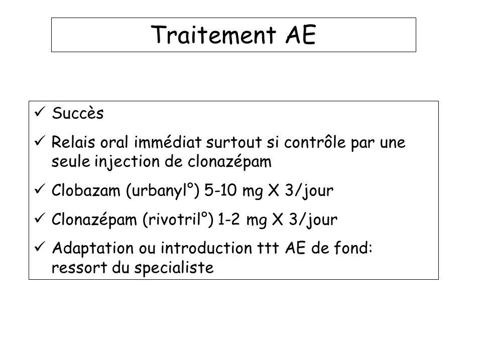Traitement AE Succès Relais oral immédiat surtout si contrôle par une seule injection de clonazépam Clobazam (urbanyl°) 5-10 mg X 3/jour Clonazépam (r