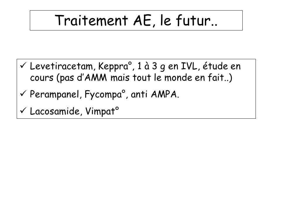 Traitement AE, le futur.. Levetiracetam, Keppra°, 1 à 3 g en IVL, étude en cours (pas dAMM mais tout le monde en fait..) Perampanel, Fycompa°, anti AM