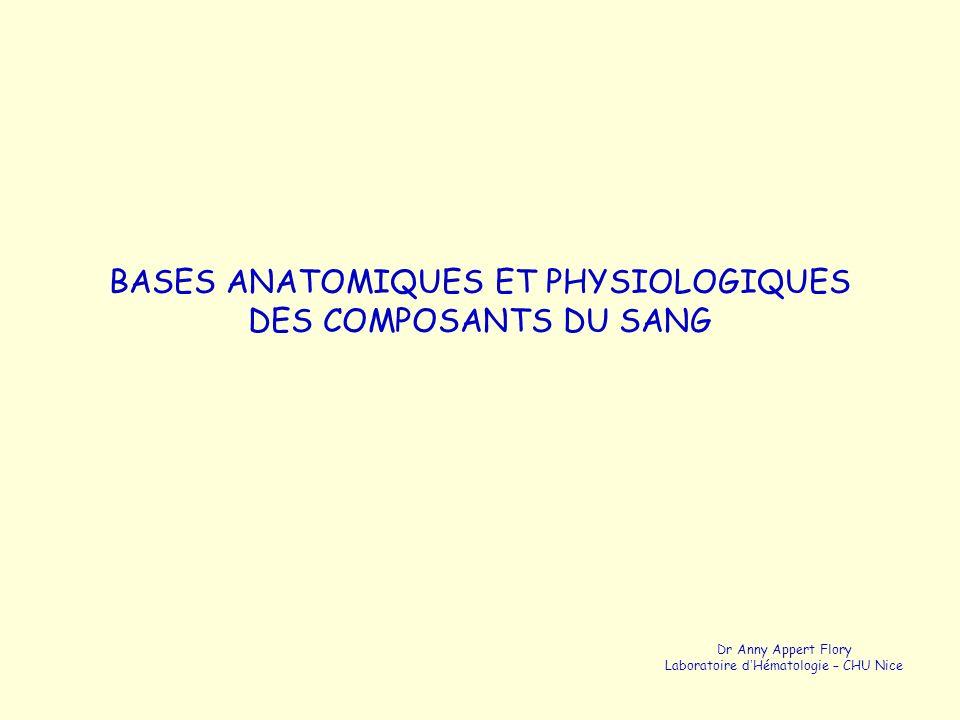 BASES ANATOMIQUES ET PHYSIOLOGIQUES DES COMPOSANTS DU SANG Dr Anny Appert Flory Laboratoire d Hématologie – CHU Nice
