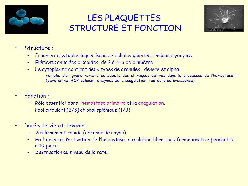 LES PLAQUETTES STRUCTURE ET FONCTION Structure : –Fragments cytoplasmiques issus de cellules géantes = mégacaryocytes. –Eléments anucléés discoïdes, d