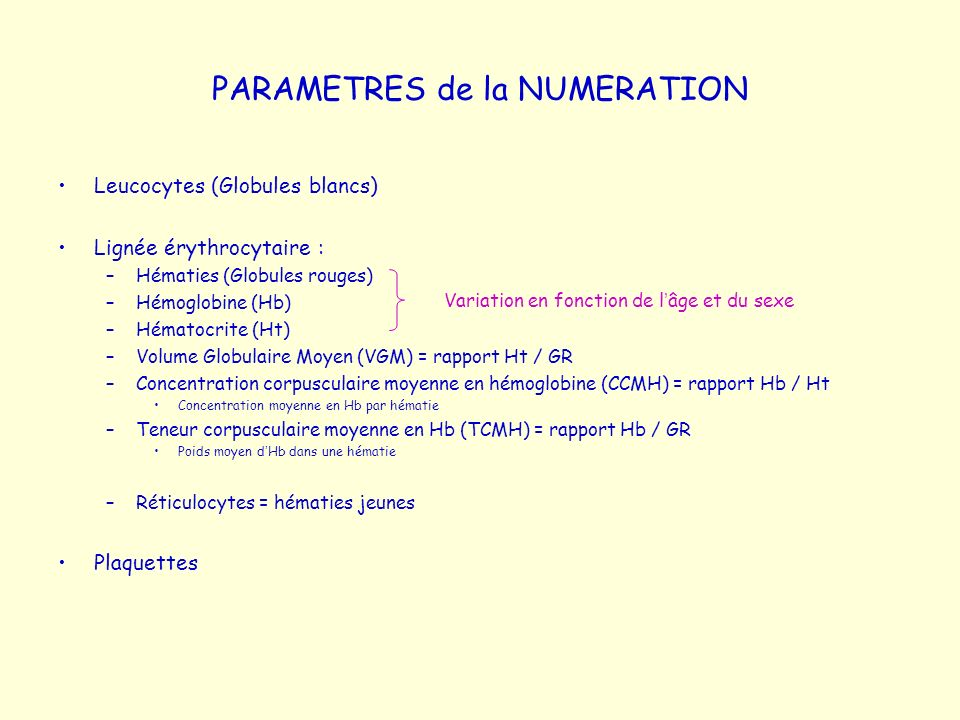 PARAMETRES de la NUMERATION Leucocytes (Globules blancs) Lignée érythrocytaire : –Hématies (Globules rouges) –Hémoglobine (Hb) –Hématocrite (Ht) –Volu