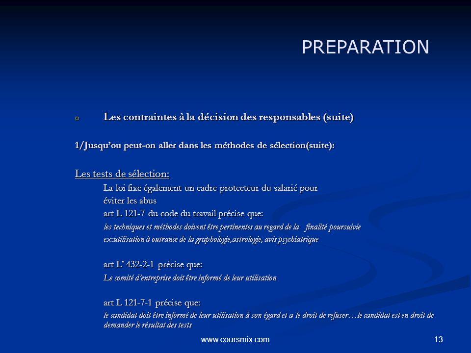 13www.coursmix.com o Les contraintes à la décision des responsables (suite) 1/Jusquou peut-on aller dans les méthodes de sélection(suite): Les tests d