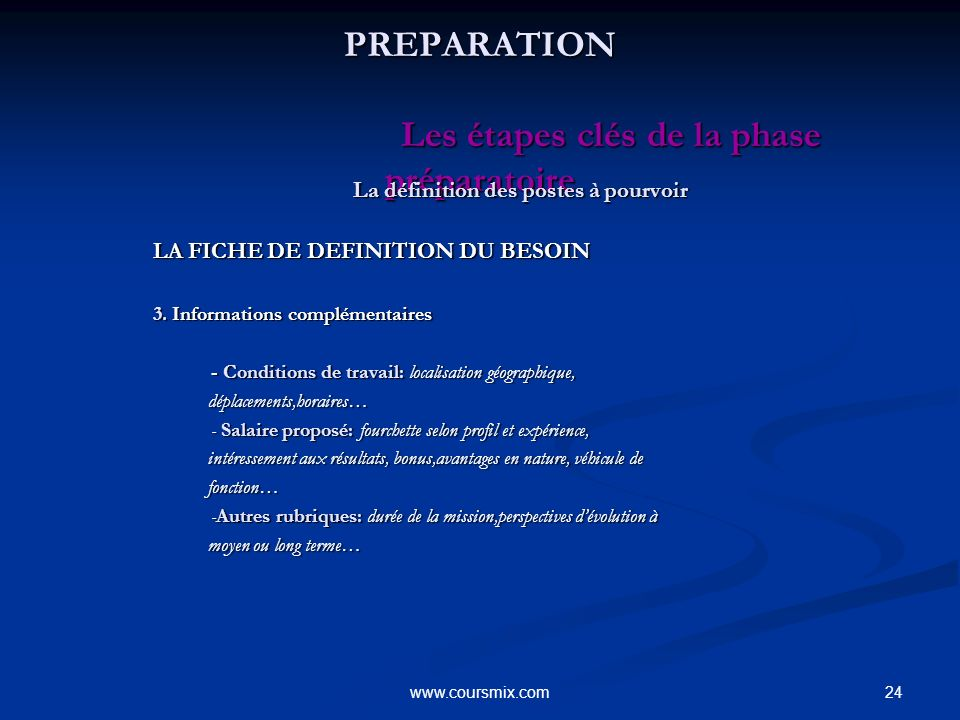 24www.coursmix.com PREPARATION Les étapes clés de la phase préparatoire PREPARATION Les étapes clés de la phase préparatoire La définition des postes