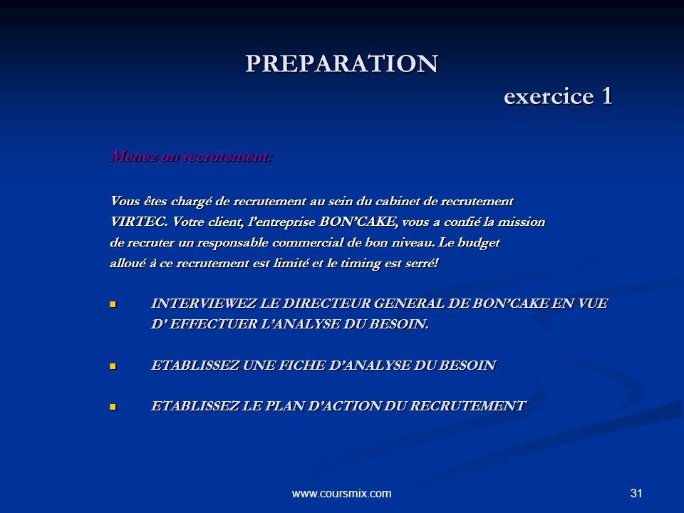 31www.coursmix.com PREPARATION exercice 1 PREPARATION exercice 1 Menez un recrutement: Vous êtes chargé de recrutement au sein du cabinet de recruteme