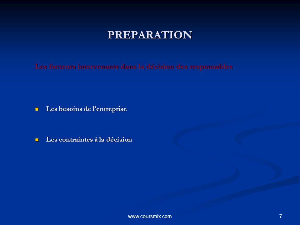 7www.coursmix.com PREPARATION PREPARATION Les facteurs intervenants dans la décision des responsables Les besoins de lentreprise Les besoins de lentre