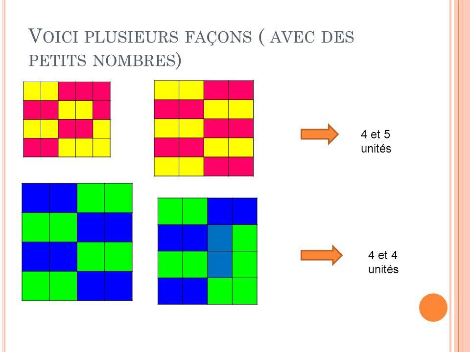 V OICI PLUSIEURS FAÇONS ( AVEC DES PETITS NOMBRES ) 4 et 5 unités 4 et 4 unités