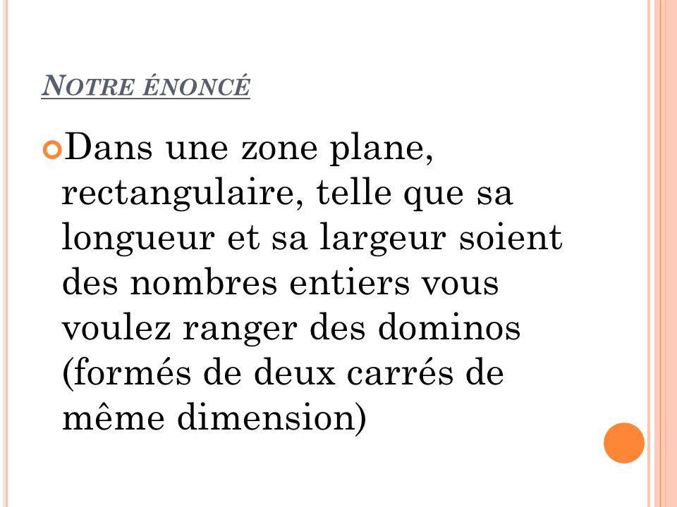 N OTRE ÉNONCÉ Dans une zone plane, rectangulaire, telle que sa longueur et sa largeur soient des nombres entiers vous voulez ranger des dominos (formé