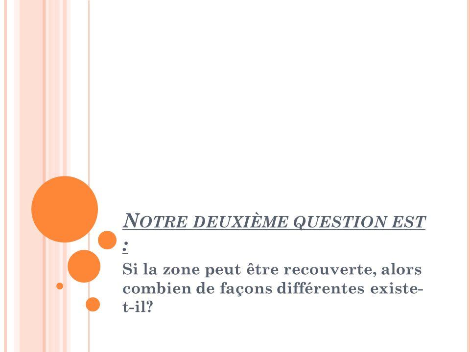 N OTRE DEUXIÈME QUESTION EST : Si la zone peut être recouverte, alors combien de façons différentes existe- t-il?